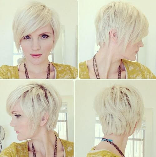 blonde pixie cut with dark roots