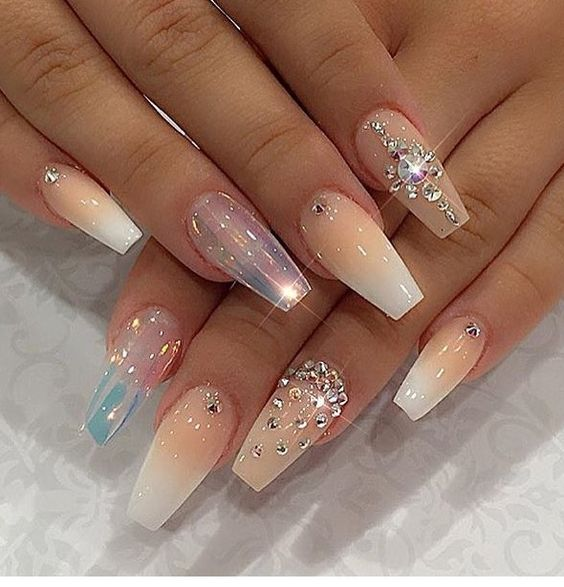 nail designs with rhinestones ombre nails pastel shiny polish and crystals