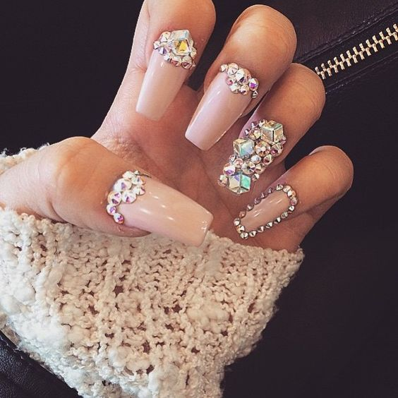 nail designs with rhinestones pink nails with beads and crystals
