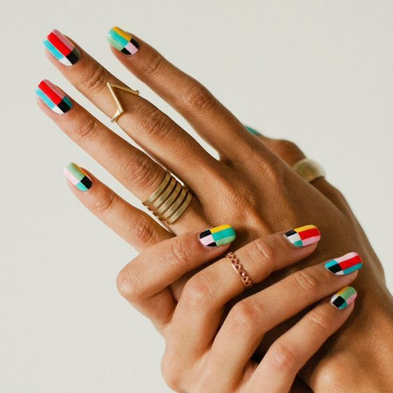 colorful checkered nails