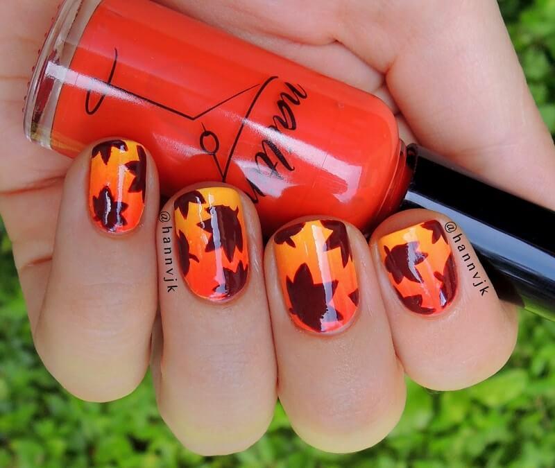 fall leaves nail art designs to create a joyful look