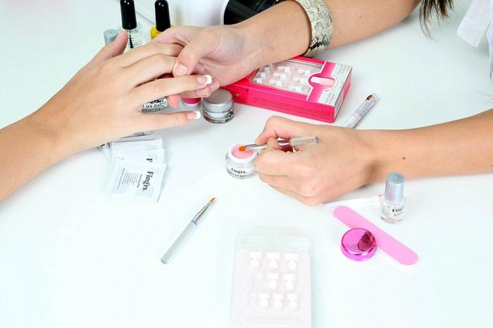 nail polish applied at a beauty salon