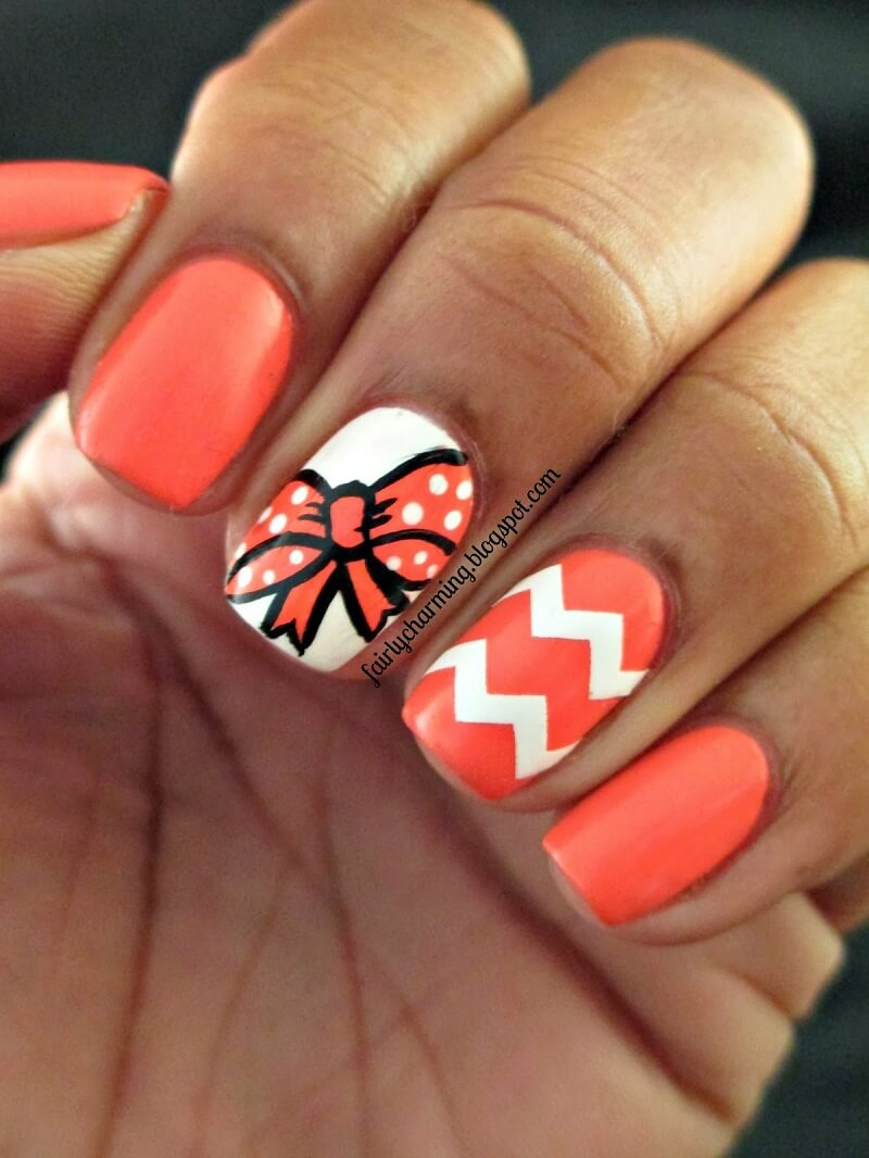 orange bow nail art designs