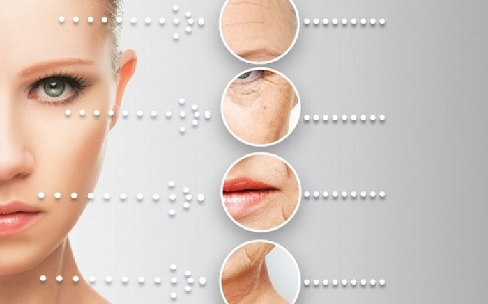 a face with different aging signs such as wrinkles