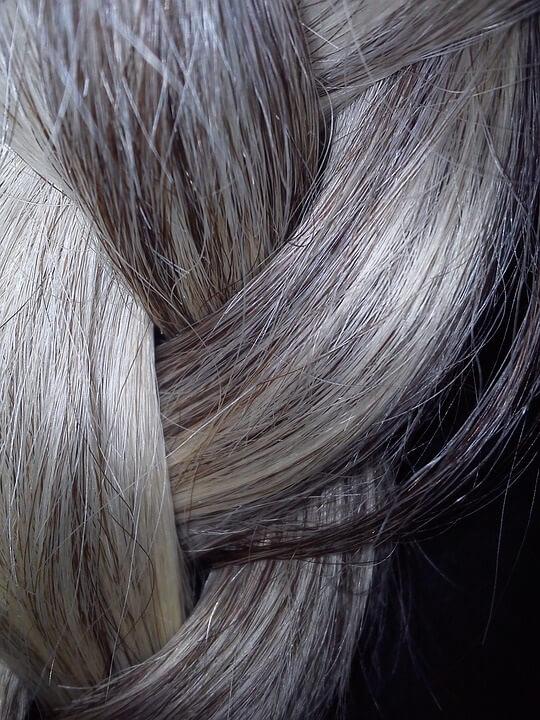 gray braided hair