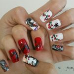 japanese nail art geisha pattern