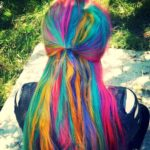a girl with long colored hair