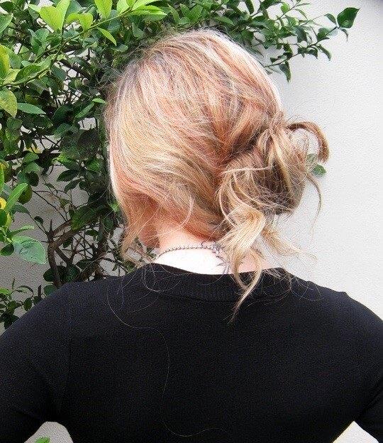 simple neckline hair bun