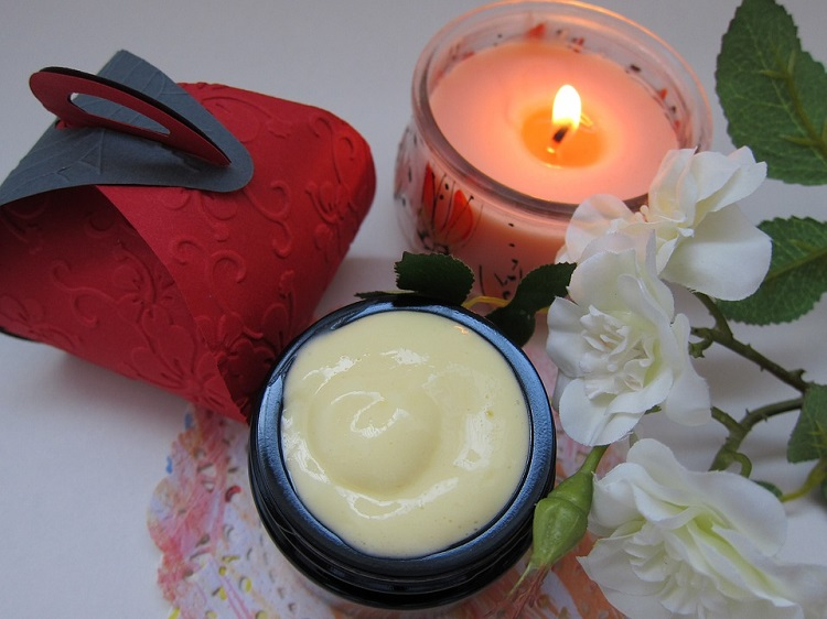 face cream and candle