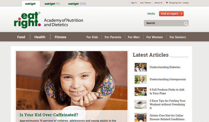 a screenshot of the academy of nutrition and dietetics homepage