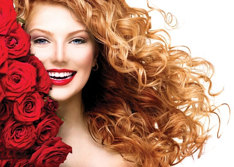 blonde long curly hair