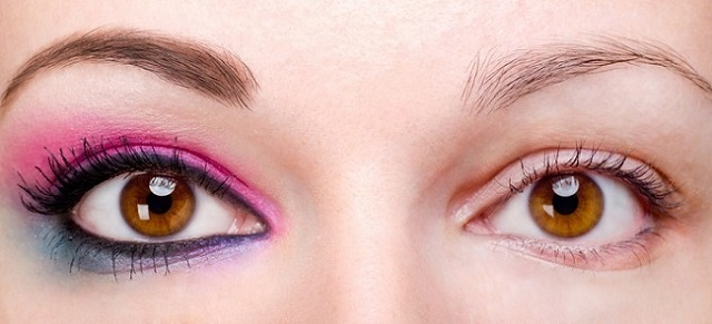 the image of a woman's eyes one with makeup and the other one without makeup