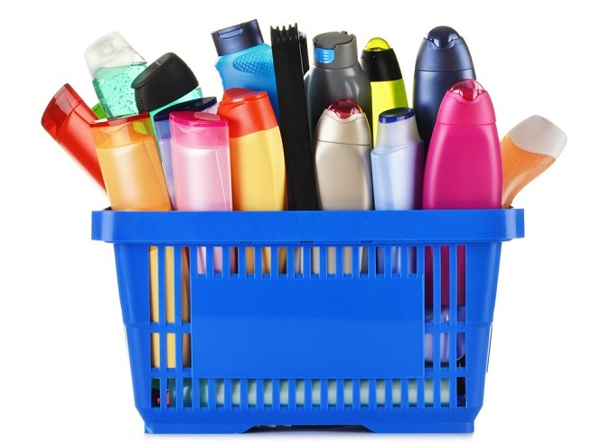 a bunch on hair products in a shopping cart
