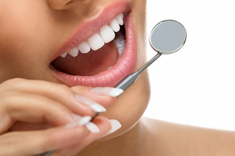 a woman's white teeth