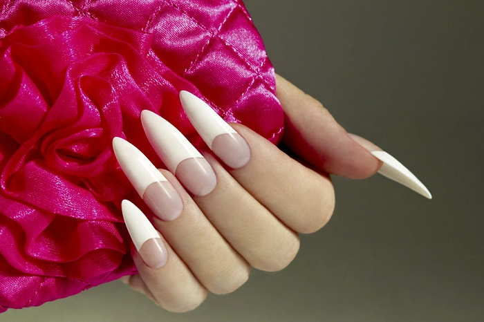 long pointy nails with french manicure