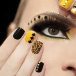 short nails black and yellow manicure
