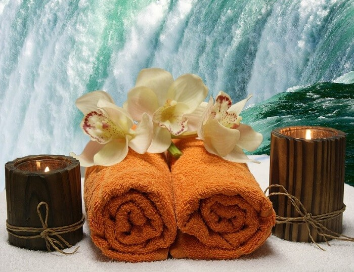 towels and candles in a spa