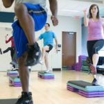 an aerobic workout in the gym