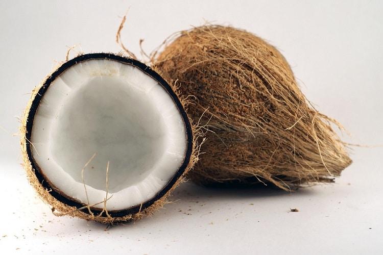 a split in half coconut