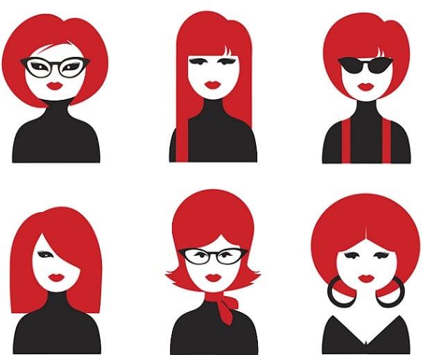 various hairstyles in an app