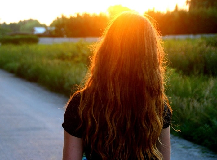 a girl's long and shiny hair