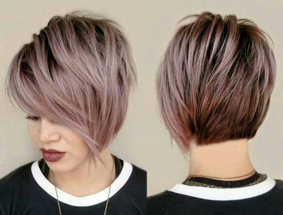 long pixie cut from the front and back
