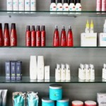 beauty products on multiple shelves
