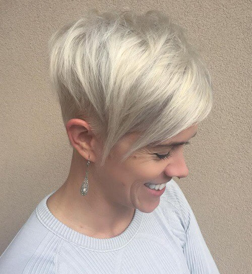 blonde long pixie cut