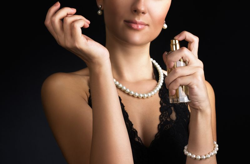 Elegant Woman Using Perfume