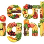 eat right spelled with healthy foods