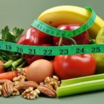 diet food surrounded by a measuring tape
