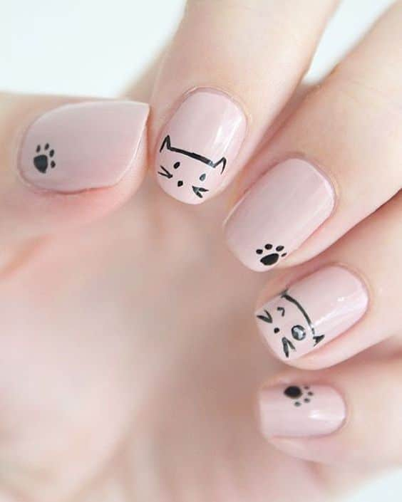 nude nails with cat theme