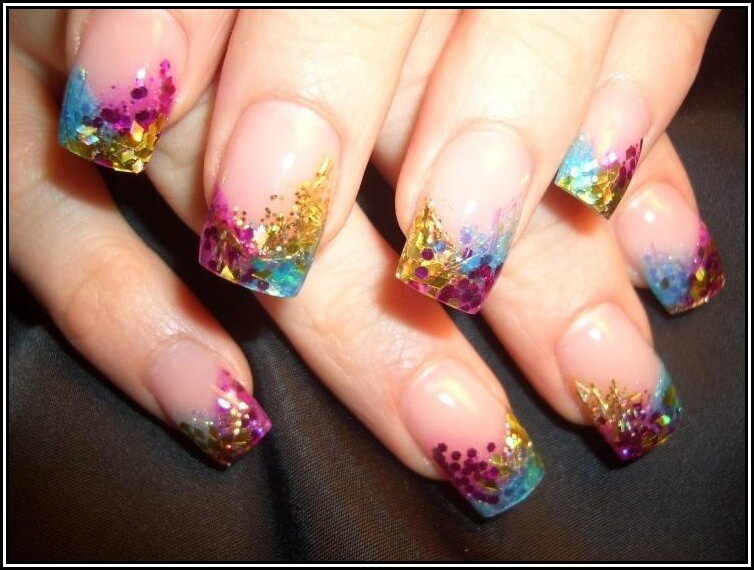 Top 10 nail designs for every season nails with multicolored tips prinsesfo Choice Image