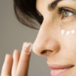 Woman has eye cream