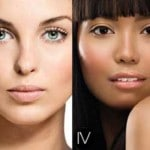Six women with different skin types