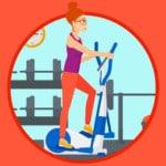 woman on eliptical trainer illustration