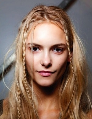 Braided bangs, with two thin classic braids on the sides