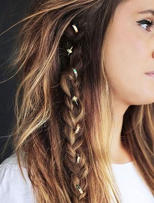 Mini boho braid on a blonde girl's hair