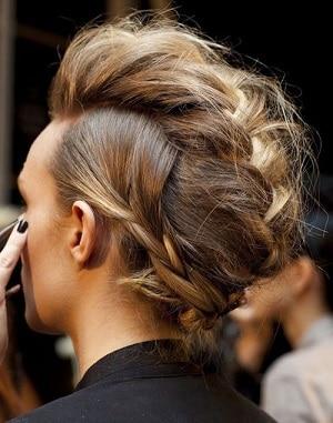 French faux hawk braid on a blonde girl's hair