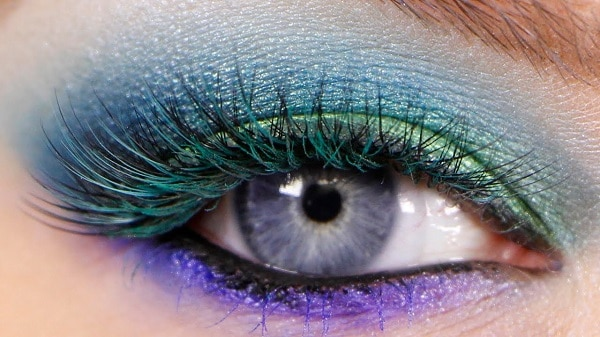 Mermaid eyes makeup with green, violet and blue