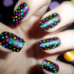 Colorful nail dot designs on black nails