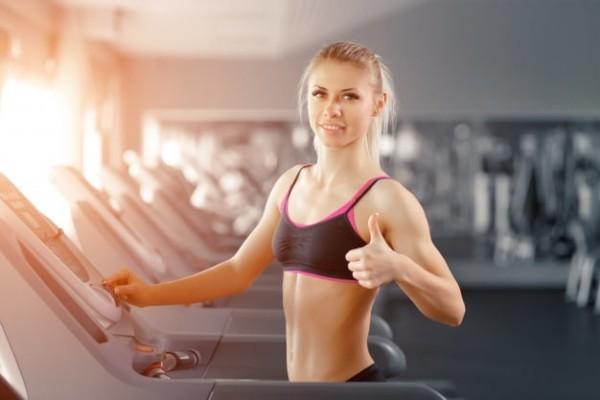 Blonde woman on treadmill