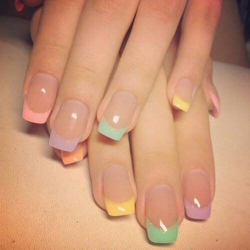 5 french tip nail designs for short nails french tip nail designs for short nails multi colored tips prinsesfo Gallery