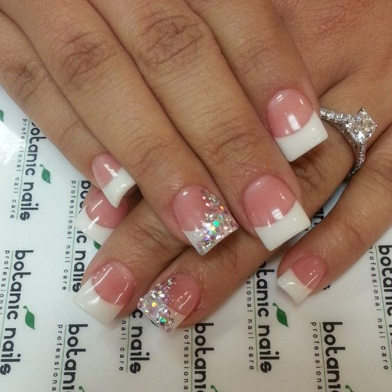 french tip nail designs for short nails glitter line applications - 5 French Tip Nail Designs For Short Nails