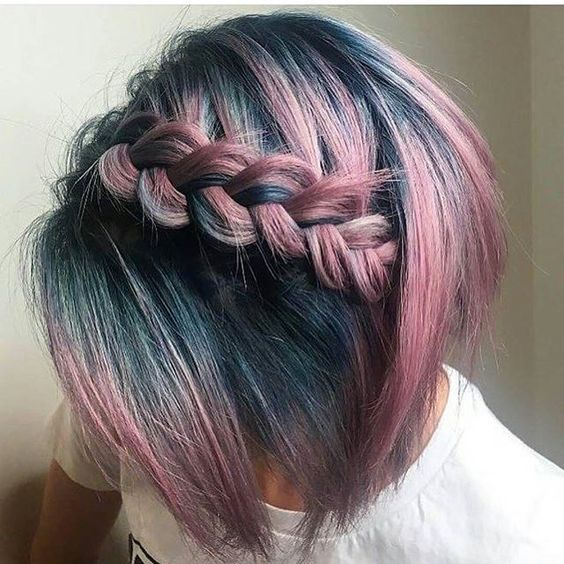 Hair Color Ideas For Short Braided Ombre Petrol Blue Bob Haircut