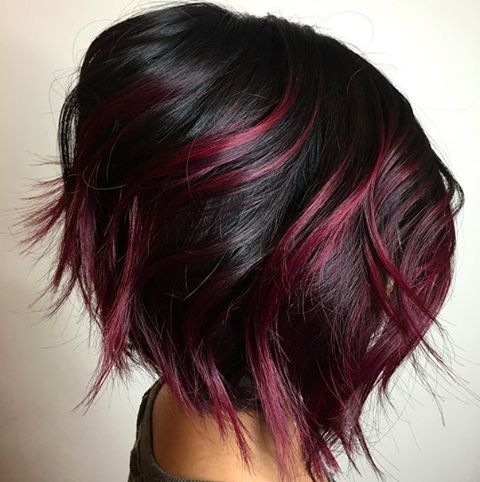 hair color ideas for short hair magenta and black bob haircut