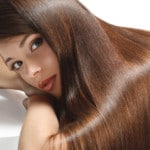 Girl with brown and shiny silky hair