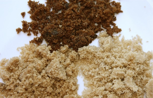 three types of brown sugar laid on table