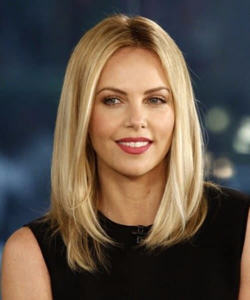 charlize theron oval face soft angled eyebrows