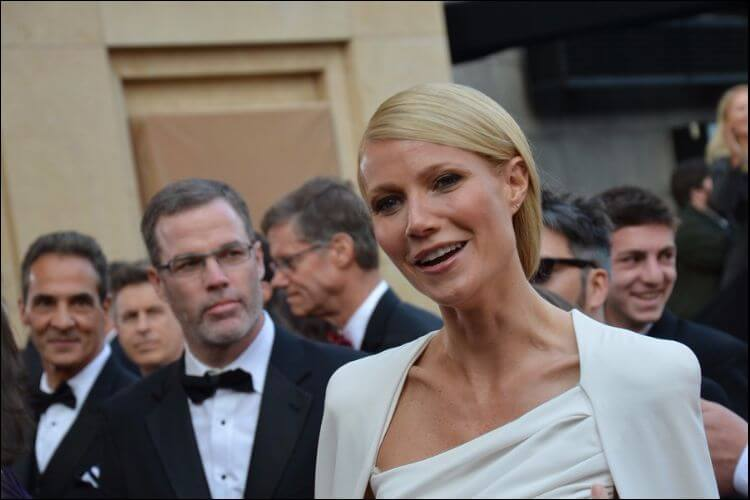 Close up of Gwyneth Paltrow dressed in white